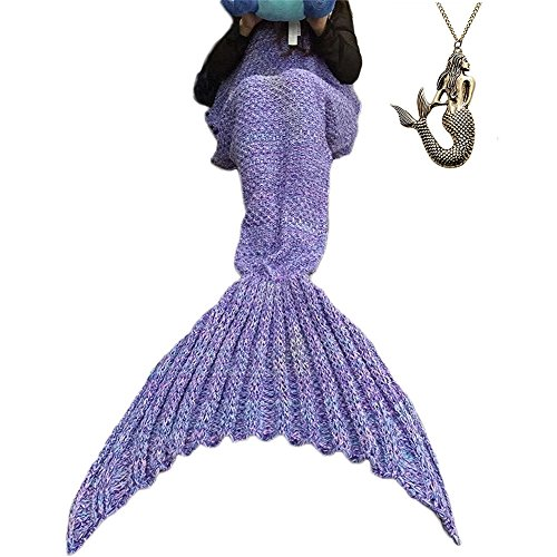 Cheap Diy Halloween Costume Ideas (URSKY Crochet Knitted Sofa Living Room Mermaid Tail Blanket, Cozy and Soft All Season Mermaid Tail Pattern Throw Sleeping Bag For Adult, Teens and Child ,71