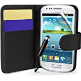 Supergets® Samsung Galaxy S3 mini I8190 Black Side Flip Wallet PU Leather Case Covers and Mini Stylus