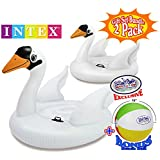 "Intex Mega Swan Inflatable Island (76.5""x60""x58"" ) & Swan Inflatable Ride-On (51""x40""x39"") Pool Floats Gift Set Family Bundle with Bonus ""Matty's Toy Stop"" 16"" Beach Ball - 2 Pack"