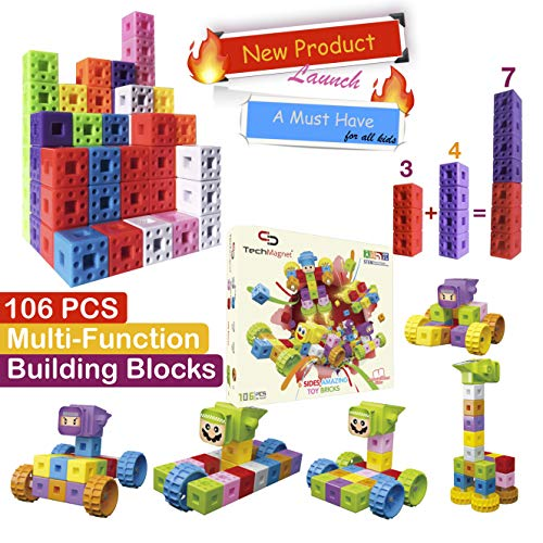 TechMagnet 6 Sided Building Bricks | Multilink Snap Cube Building Blocks | Mathlink Cubes | Math Manipulatives | Educational Multi Linking Cubes | Interlocking Cubes | Best Gift for Children 3+