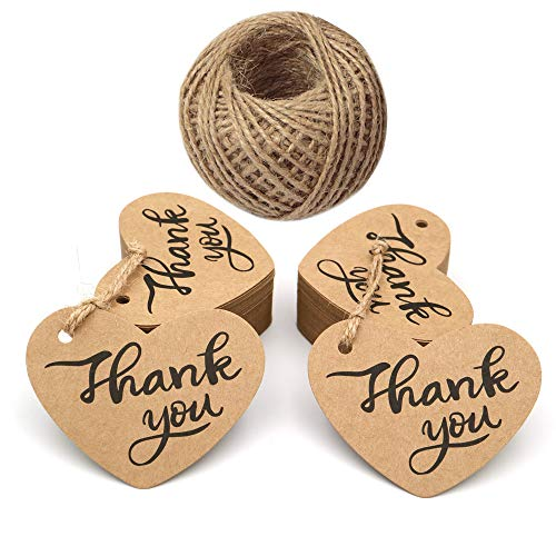 Original Design Gift Paper Tags,100PCS Thank You Tags with 100 Feet String,2.6