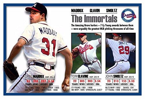 PosterWarehouse2017 The Immortals: GREG Maddux, Tom GLAVIN, John SMOLTZ Commemorative Poster - Atlanta Braves Tom