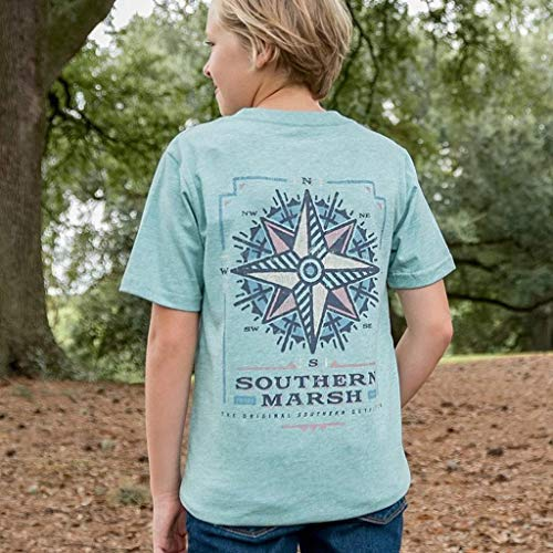 Southern Marsh Youth Branding Collection Compass Tee-Washed Moss Blue-yl (Tshirts Boys Southern)
