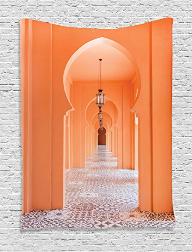 Ambesonne Arabian Decor Collection, Moroccan Style Walkway with Islamic Motifs and Arabic Art Elements Visual Oriental Art Photo, Bedroom Living Room Dorm Wall Hanging Tapestry, Orange by Ambesonne