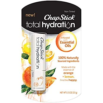 ChapStick Total Hydration Essential Oils Lip Balm Happy Orange + Lemon(0.12 oz Tube)