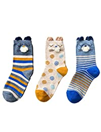 XY Fancy Creative Cute Animal with Ear Pattern Cotton Warm Crew Socks 3 Pairs