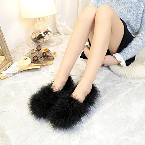 Warm Fluffy Faux Fur Soft Shoes,Byste Women Indoor Round Head Shoes Comfortable to Wear Black