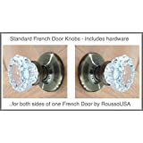 A Perfect Reproduction of the 1920 Depression Crystal Glass FRENCH DOOR Knob Sets with Premium Rosettes, no exposed screws. - All the hardware for knobs on both sides of One French Do(Old Antique Brass Hardware) (Ver 2.AB8: Standard French Door)