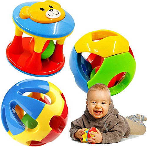 Rattle 10 (FOREAST Baby Toy 3 Pcs Rattle Toys Colourful Shaking Bell Developmental Rolling Balls Newborn Handbells Infant Gift)