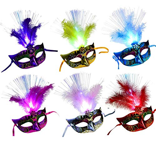 6 Packs Venetian Venice LED Fiber Feather Mask, Masquerade Mask, Carnival Halloween Costumes Cosplay Party Flashing Mask for Women Men Kids