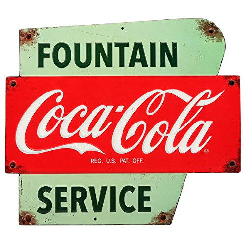Open Road Brands - Vintage Retro Metal Tin Signs - Coca-Cola Fountain Service Sign - for Bars, Diners, Man Caves, and Home Decor