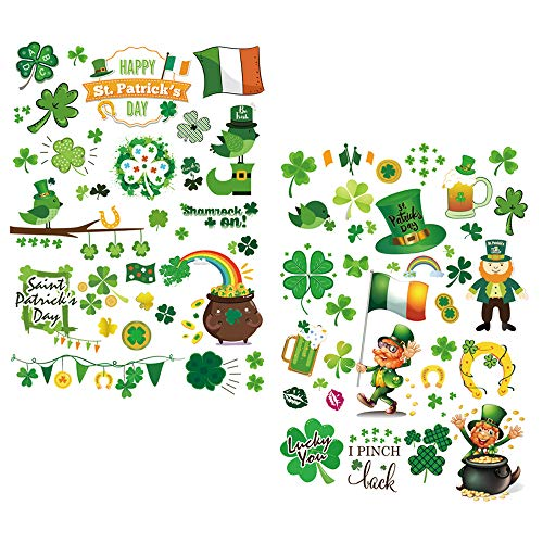 Konsait 2 Big Sheet St.Patrick's Day Window Clings Shamrock Stickers Decal, Removable St Patricks Window Decals St.Patricks Accessories Decor Backdrop Party Favors Supplies
