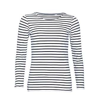 SOLS Womens/Ladies Marine Long Sleeve Stripe T-Shirt (XS) (White/Navy)