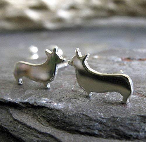 (Welsh Pembroke Corgi Dog Polished Sterling Silver Stud Earrings Handmade in USA)
