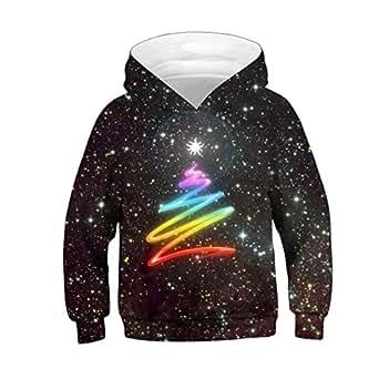 Leezeshaw Unisex Kid's 3D Rainbow Star Printed Novelty Hooded Sweatshirt Pullover Hoodie with Kangaroo Pocket