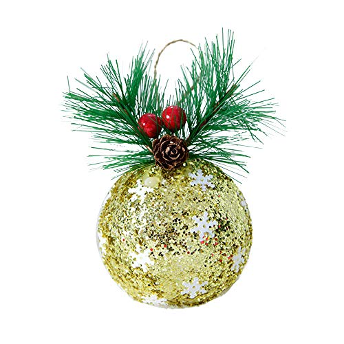 (❤️ Large Snowflake Baubles Christmas Balls Ornaments, Christmas Tree Bulk Ornaments, Christmas Tree Decoration Clearance, Cheap Silver Red Christmas Ornaments (13 x 7.5cm, Gold))
