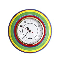 Tuscany Colorful Hand Painted Ceramic Rainbow Collection by ACK (Wall Clock)