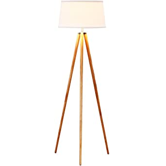 Brightech Emma LED Tripod Floor Lamp- Modern Design Wood Mid Century ...