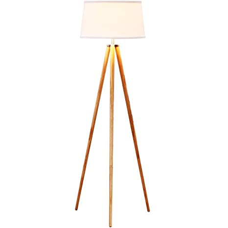 Brightech emma led tripod floor lamp modern design wood mid century style lighting for contemporary