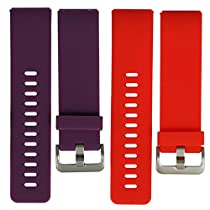 bayite Accessories Silicone Watch Bands for Fitbit Blaze Orangered and Plum Small 5.5 - 6.7 inches Pack of 2