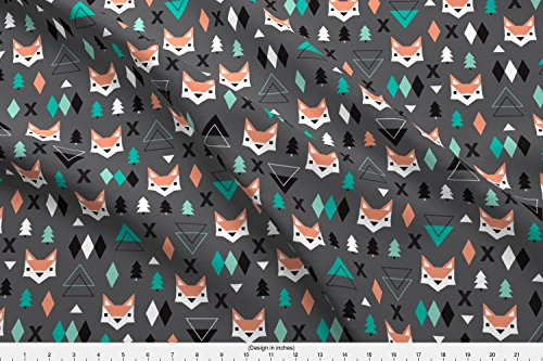 Fabric Geometric Fox And Pine Tree Illustration Pattern by Littlesmilemakers Printed on Basic Cotton Ultra Fabric by the Yard ()