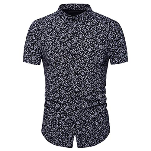 Toimothcn Mens Button Down Slim Fit Short Sleeve Embroidery T Shirt MuscleTops(Black3,S)