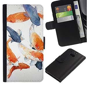 [Neutron-Star] Modelo colorido cuero de la carpeta del tirón del caso cubierta piel Holster Funda protecció Para HTC One M8 [Pescado Blanco Azul Naranja Gris]