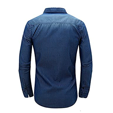 Oushiny Mens Long Sleeve Striped Denim Shirt 4 Sizes