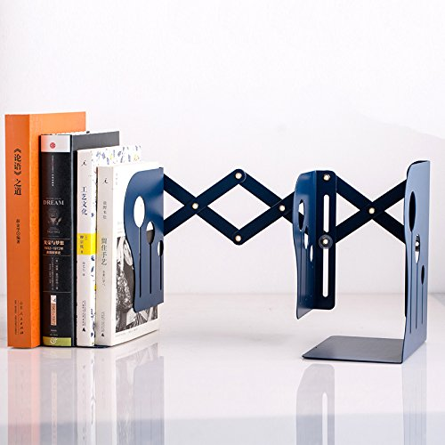 Metal Bookends Fashion Retractable Metal Bookends Iron Stationery Portable Library School Office Supply (Telescopic-Metal, Blue)