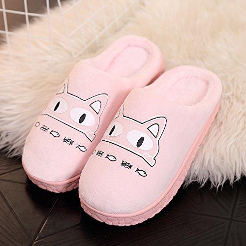 cálido gruesa de estancia Zapatillas DogHaccd macho femenina de lindo par de interior lana antideslizante invierno una algodón zapatillas Rosa3 con zapatillas Otoño paquete 8wxfHp