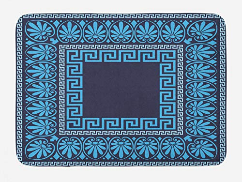 Ambesonne Greek Key Bath Mat, Grecian Meandros Pattern with Intricate Lines Floral Figures in Blue Shades, Plush Bathroom Decor Mat with Non Slip Backing, 29.5 W X 17.5 L Inches, Blue Dark Blue