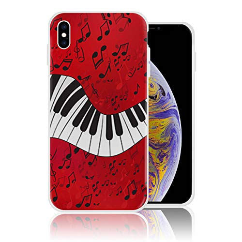 Silicone Case for iPhone Xs Max Personalized Design Printed Phone Case Shockproof Full Body Protection Anti-Scratch Drop Protection Cover - Music Note Piano Keys -