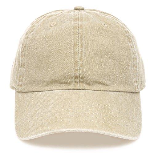 MIRMARU Low Profile Vintage Washed Pigment Dyed 100% Cotton Adjustable Baseball Cap Hat.(Khaki)