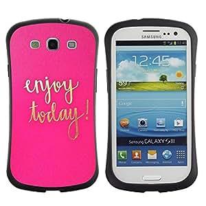 """Hypernova Slim Fit Dual Barniz Protector Caso Case Funda Para SAMSUNG Galaxy S3 III / i9300 / i747 [Hoy Rosa de Oro Texto motivación""""]"""