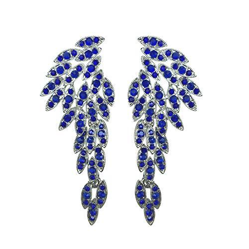 LARGE Angel Wings Eagle Wings Rhinestone Retro Statement Earrings Souvenir Gold Black Dangling Earrings Wedding Bridal Prom Chandelier Long Drop Earrings for Women (Capri Blue Without ()