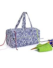 Luxja Knitting Bag, Yarn Bag for Yarn Skeins, Crochet Hooks, Knitting Needles (up to 14 Inches) and Other Accessories, Flowers
