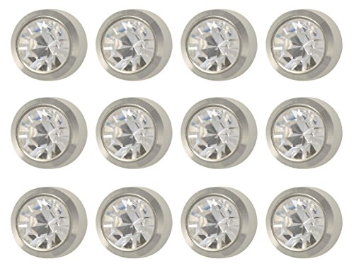 Caflon Surgical Steel White Stone Color 4mm Ear Piercing Earring Studs 12 Pair White Metal