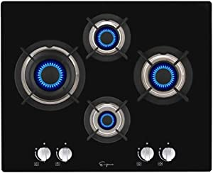 """Empava 24"""" Tempered Glass 4 Italy Imported Sabaf Burners Stove Tops Gas Cooktop EMPV-24GC4L67A"""