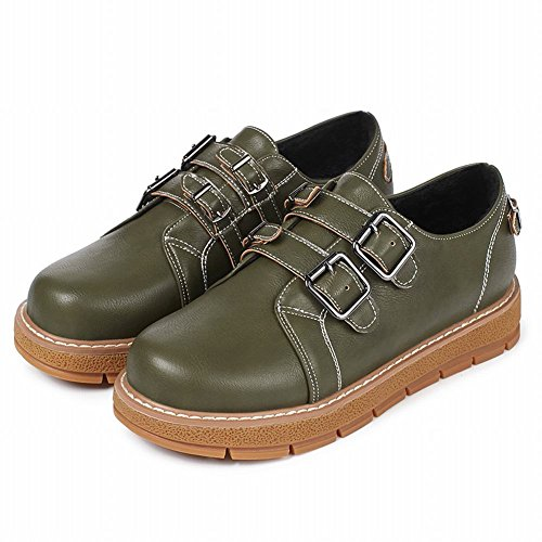Latasa Womens Fashion Flats Monk Strap Loafers Shoes Dark Green 1VmBwQqOq0