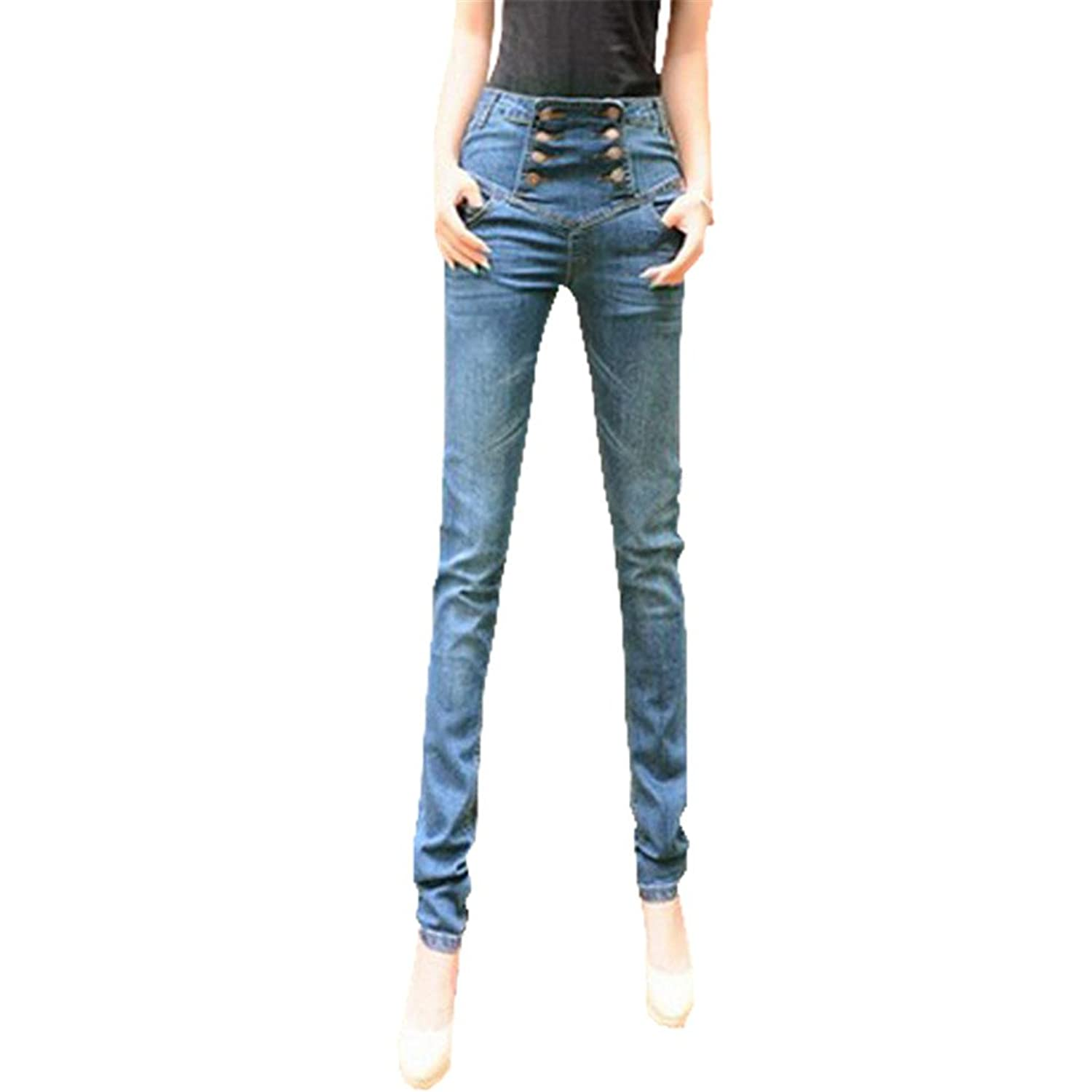 Women Jeans Pencil Double Breasted Pants High Waist Denim Pants Skinny Jeans