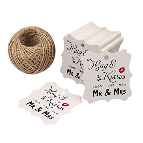 Original Design Wedding Favor Gift Tags, 100 PCS White Square Tags with 100 Feet Natural Jute Twine Perfect for Bridal Baby Shower Anniversary- Hug & Kisses from The New Mr & Mrs