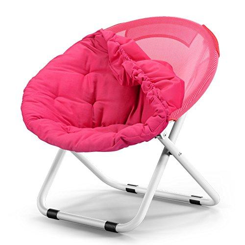 Washable folding chair / adult moon chair / sun chair / lazy chair / sun lounger / folding chair / round chair / sofa chair / solid color Home folding chair / lazy couch / ( Color : Rose red ) by Folding Chair