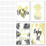 Set of 4 Decorative Posters 11'' X 17'' 1mm Thick Cardboard with Double Sided Tape Included - Summer Time Quotes and Gold Pineapple Inspirational Wall Art - Perfect Prints for Bedroom, College Dorm, et