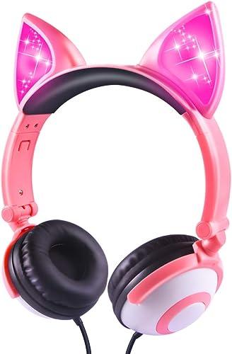 Kids Headphones, Wired LED Glowing Foldable Adjustable Over-Ear Headphones, Safe 85dB Volume Limited Cat Ear Headphones for Kindle iPad Children Teens Boys Girls Fox Ear-Pink