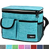 OPUX Premium Insulated Lunch Bag for Women, Men, Adults | Lunch Box with Shoulder Strap, Pocket, Soft Leakproof Liner | Medium Lunch Cooler for School, Work | Fits 6 Cans (Heather Sea Blue)