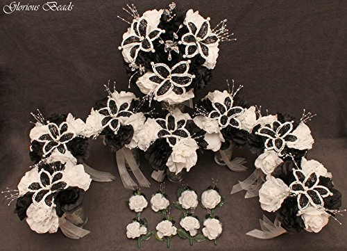 Black and White BEADED Flower Lily Wedding / Quincenarea Bouquet 16 PC Set with FREE Boutonnieres