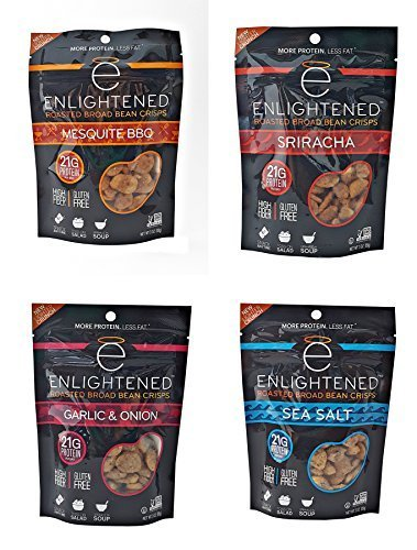 Mesquite Bean - Enlightened - The Good for You Crisp Roasted Broad Beans Variety Pack 3 Ounce (Pack of 4) Garlic & Onion, Sriracha, Sea Salt, BBQ