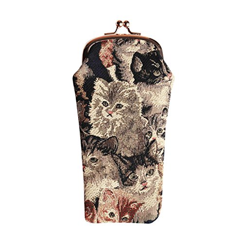 Cat Print Tapestry Eyeglasses Pouch Sunglasses Bag Spectacle Pouch by Signare - Cat Spectacles Eye