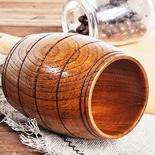 Infgreate Practical Portable Kitchen Tools Barrel Shape Wooden Beer Tea Milk Cup Carved Home Kitchen Bar Pub Drinkware ()