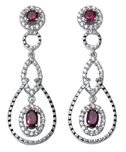 Banithani 925 Sterling Silver Charm Rhodolite Garnet Stone Dangle Earrings Fashion Jewelry (Rhodolite Charm Garnet)